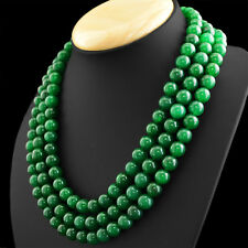 950.50 CTS EARTH MINED RICH GREEN EMERALD 3 LINE ROUND SHAPE BEADS NECKLACE