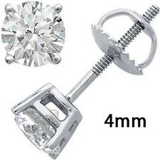 SCREWBACK 925 STERLING SILVER CZ STUD EARRINGS ROUND