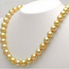 """10mm 24"""" South Sea Golden Shell Pearl Hand Knotted Round Beads Necklace AAA"""