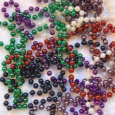 "MARDI GRAS BEADS NECKLACE LOT: 6 RED~WHITE~BLUE~GREEN~PURPLE Bead 16-32"" 23-46"""