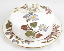 ANTIQUE HAND PAINTED GOLD FLORAL COVERED BUTTER DISH ROYAL WORCESTER CHINA W1701