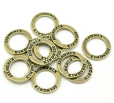 "5x 23mm Antique Bronze Zinc Alloy "" Kindness "" Ring Circle Steampunk Pendant R48"