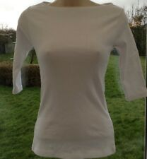 New ASOS Skinny Fit Ribbed 3/4 Sleeve Cotton Tee Top White UK 14 Casual