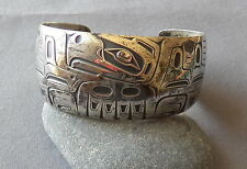 Large Unisex NW Coast MAG Sterling Barry Herem Wide Eagle Cuff Bracelet