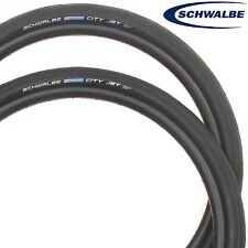 2 X Schwalbe City Jet 26 x 1.50 Bike Tyres Black Road Slick MTB City Commuter