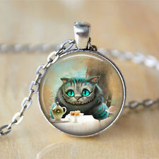 Alice In Wonderland Cheshire Cat Silver Chain Pendant Necklace Jewelry
