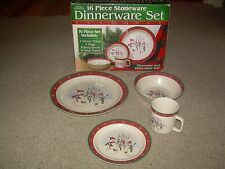 Royal Seasons Stoneware SNOWMAN 16 Piece dinnerware Dishes Set GUC FREE SHIP