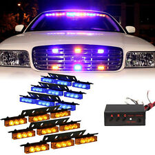 6 X 9 LED Emergency Car Boat Bar Blue Amber Strobe Light 3 Flashing Modes