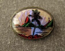 VINTAGE 40'S LARGE PAINTED RIO LANDSCAPE BUTTERFLY WINGS SILVER PLATED PIN