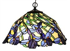 TIFFANY IRIS VIOLET FLOWERS FLORAL STAINED GLASS HANGING PENDANT LAMP