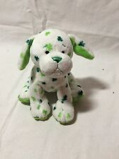 Webkinz Clover Puppy Dog HM447 Plush Toy Only NO CODE Shamrock Irish White Green