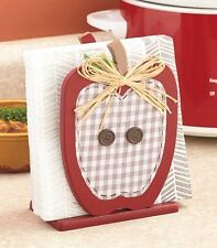Country Red Apple Die-Cut Napkin Holder Checkered Buttons Kitchen Decor