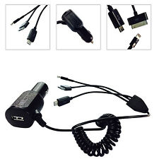 BLACK 3 in 1 APPLE/MICRO USB CAR CHARGER FOR SAMSUNG GALAXY S3 SIII MINI I8190