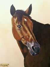 "CUSTOM HORSE PORTRAIT PAINTING by artist BETS 18"" X 24"" Your Wonderful Horse!!"
