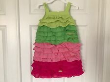 GYMBOREE NWT FLORAL MERMAID Ruffle Tiered Dress Pink Green Colorblock 8