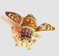 Joan Rivers Bee Purple Amethyst Rhinestone Queen Bumblebee Pin Brooch