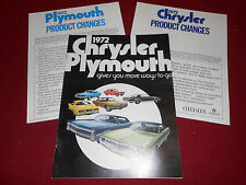 1972 CHRYSLER & PLYMOUTH BROCHURE, CATALOG BARRACUDA SATELLITE FURY DUSTER Etc.