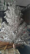 Vtg 4 foot aluminum pom pom tinsel Evergreen Christmas tree 58 branches no stand