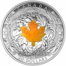 Canada 2016 Majestic Maple Leaves Drusy Stone $20 Silver Proof SML Leaf Gemstone