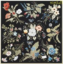 "GUCCI black signature FLORA by KRIS KNIGHT silk 35"" Scarf NWT Authentic $440!"