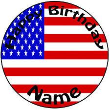 """Cumpleaños Personalizado Bandera Americana Redondo 8"""" fácil Precortada Glaseado Cake Topper"""