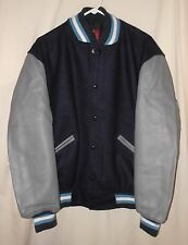 VINTAGE LETTERMAN JACKET WOOL & LEATHER VARSITY  BASEBALL STYLE SIZE LARGE