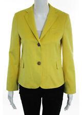 AKRIS PUNTO Yellow Wool Notched Collar Button Front Jacket Sz 4