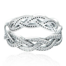 BRAID Size 5.5 Solid Sterling Silver Sparkling Pave Twist Stacking Ring Band