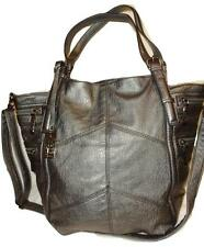 KENNETH COLE REACTION X-Large Gun Metal Faux Leather Carry All Tote