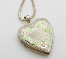 Vintage Sterling Silver Heart Locket Pendant Etched Colorized Pink PPC Necklace