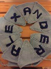 """Handmade Personalised Knitted Bunting """"Alexander"""" Gift Baby Toddler"""