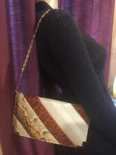 STUNNING VINTAGE LEATHER SNAKESKIN CLUTCH WITH GOLD CHAIN STRAP BAGS BY VARON