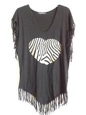 Wildfox black V Neck T shirt triangle end zebra heart design fringe around SZ S