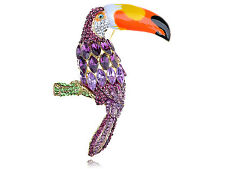 US Purple Violet Diamante Rhinestone Gold Tone Tropical Toucan Bird Pin Brooch