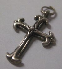 """Vintage 925 Sterling Silver CROSS Charm 3-D .75"""" x 5/8"""" Flared Edges LOVELY"""