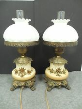 Victorian Gone With The Wind Applied Brass Floral Hurricane Lamps Vintage