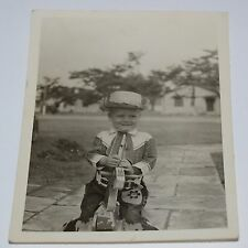 Vintage Boy Wearing Western Cowboy Clothes Horse Black & White Photo Photograph