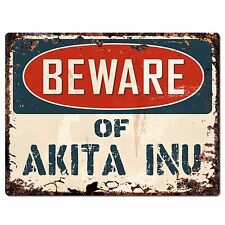 PP1447 Beware of AKITA INU Plate Chic Sign Home Store Wall Decor Funny Gift