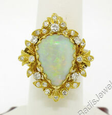 Vintage 18k Two Tone Gold 6.50ct Cabochon Pear Opal Diamond Floral Cocktail Ring