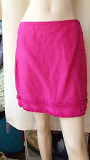 Per Una pink ruffled hem mini skirt button side linen mix size 12 BNWT RRp £25