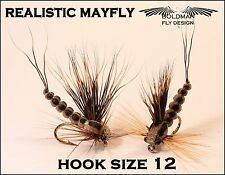 12 pcs relistic mayfly dry flies/ trout fly fishing lures
