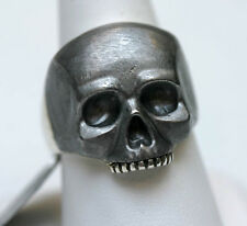 DAVID YURMAN NEW Meteorite and Sterling Silver Mens Carved Skull Ring 11.25