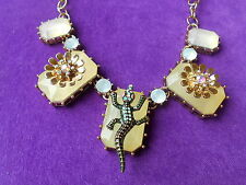 Betsey Johnson Authentic NWT Gold-Tone Crocodile & Flower Frontal Necklace