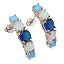 ***UK SELLER** Silver/Rhodium Plated BLUE/WHITE FIRE OPAL/ TOPAZ STUD EARRINGS