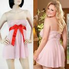 Sexy Sheer Lace Pink Cute Baby Doll Teddy w/ Red Bow Plus or Regular Size New