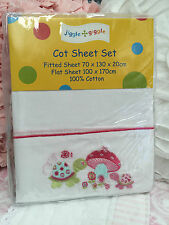 Jiggle Giggle Embroidered  Baby Girls Cot Sheet Set rrp $48.95  Nursery