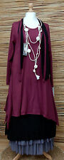 LAGENLOOK COTTON QUIRKY 4 PCS DRESS+OVERDRESS+2 SCARVES*MAROON/BLACK*SIZE L-XL