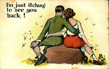 VALENTINE, COMIC,  I'm Just Itching, Couple, BRISTOL CT, 1924 Vintage Postcard