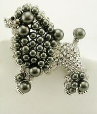 "Kenneth Jay Lane Faux Pearl & Crystal Poodle Pin   3"" GREY"