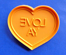 COOKIE CUTTER Hallmark Valentines CANDY HEART Love Ya ORANGE Vtg Soft PLASTIC